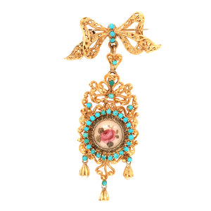 18k Yellow Gold Hand Painted Hanging Brooch