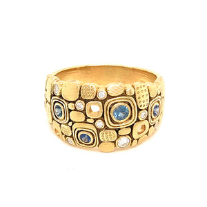 Alex Sepkus 18k Yellow Gold Little Windows Dome with Diamond and Sapphire Ring