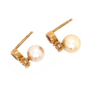 18k Yellow Gold Pearl, Ruby and Diamond Earrings
