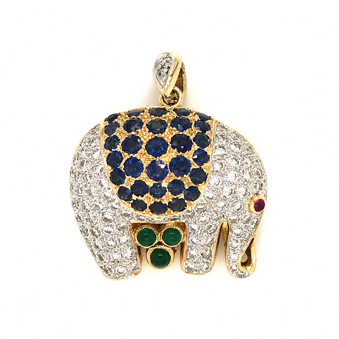 18k Yellow Gold Elephant with Diamond and Sapphire Pin / Pendant
