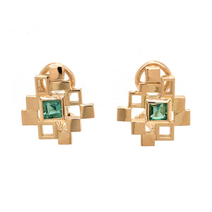 18k Yellow Gold Green Tourmaline Geometric Earrings