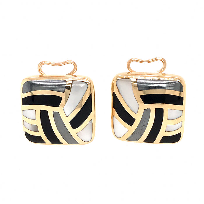 Asch Grossbardt 14k Yellow Gold Mother of Pearl and Onyx Inlay Earrings