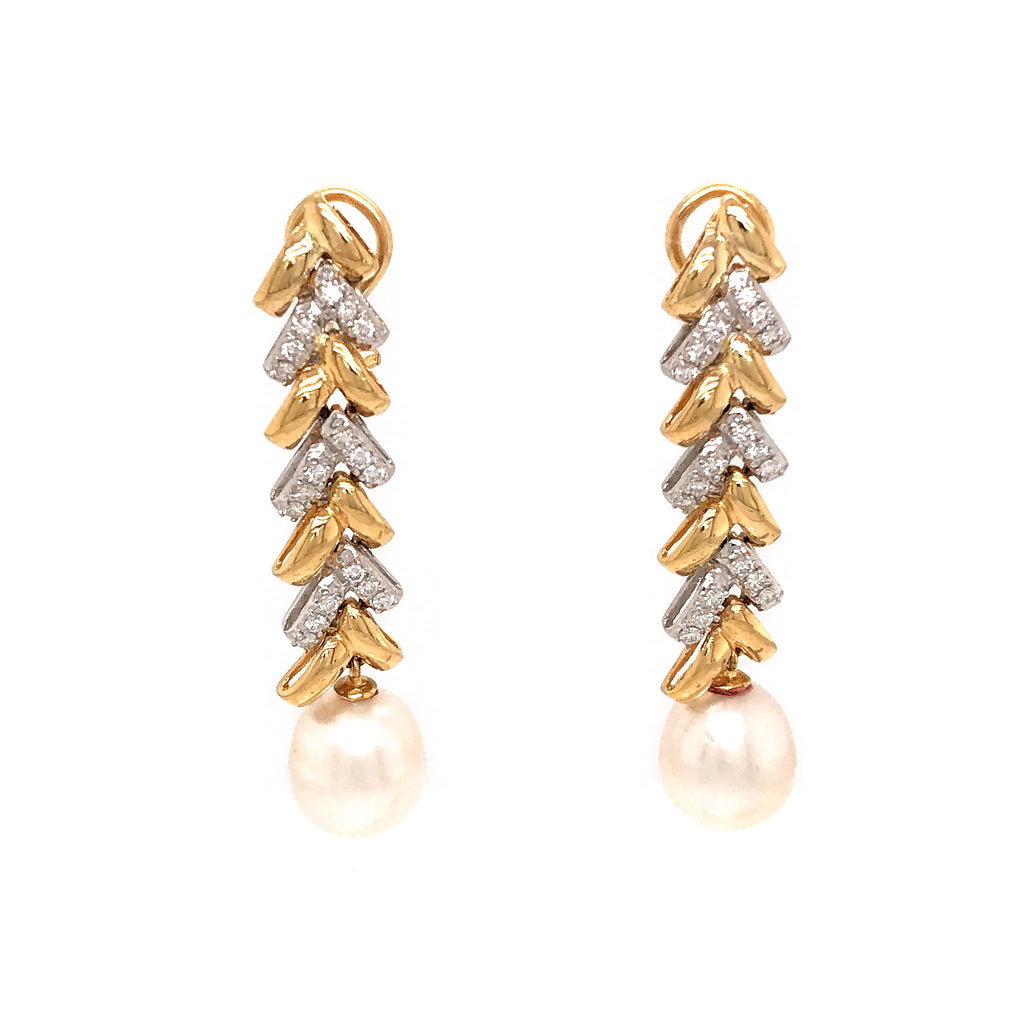 18k Yellow Gold Diamond and Pearl Earrings