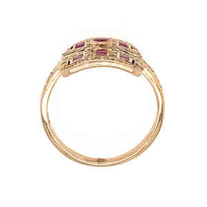VINTAGE 10K YELLOW GOLD RUBY AND DIAMOND RING