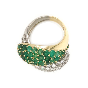 18k Two Tone Gold Emerald and Diamond Yin and Yang Ring