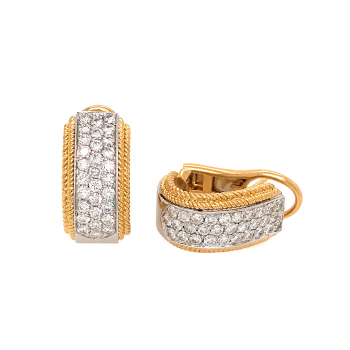 18k Yellow and White Gold Diamond Huggie Earrings