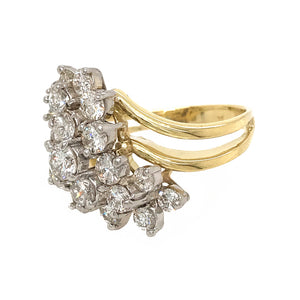 VINTAGE 18K YELLOW AND WHITE GOLD WATERFALL DIAMOND RING