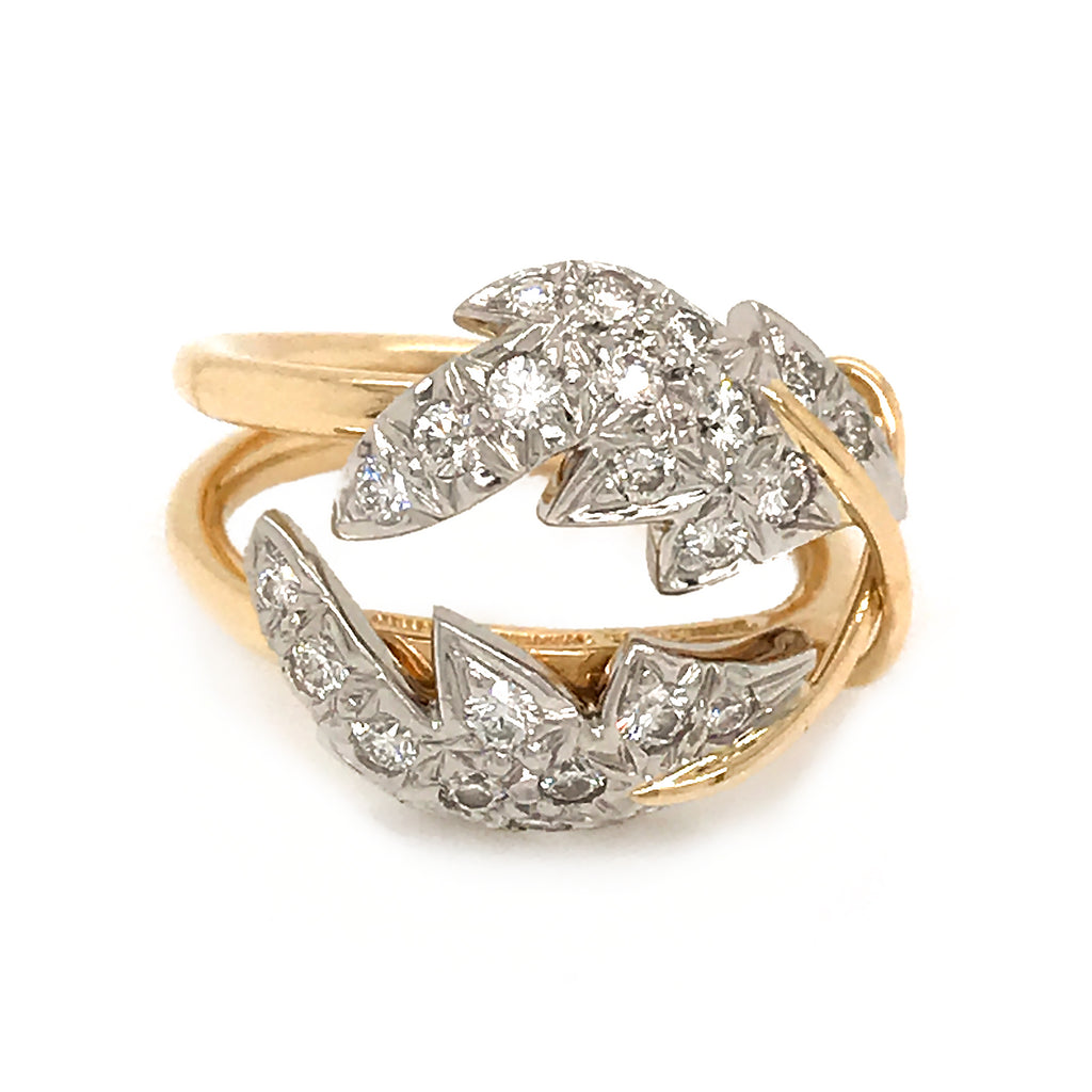 Tiffany & Co. Schlumberger 2 Leaf Diamond Ring