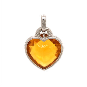 Sweetheart 14k White Gold Checkerboard cut Citrine and Diamond Pendant