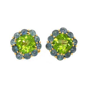 Paolo Costagli 18k Yellow Gold Peridot and Sapphire Earrings
