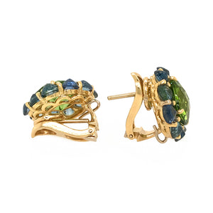 18k Yellow Gold Peridot and Sapphire Earrings
