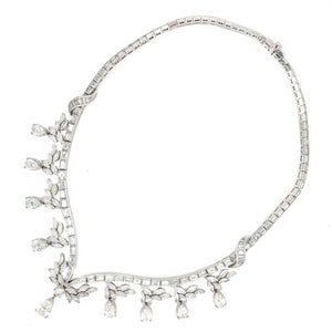 Vintage Platinum 1950's Style Diamond Necklace