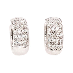 18k White Gold Pave Diamond Huggies Earrings