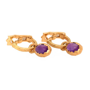 DIOR 18k Yellow Gold Cabochon Amethyst Hoops Earrings