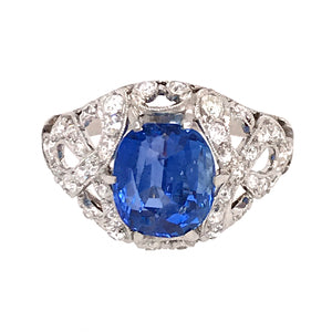Gorgeous Vintage No-Heat Sapphire and Diamond Ring