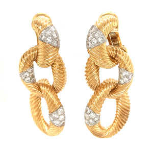 Wander France 18k Yellow Gold Chain Link Diamond Earrings