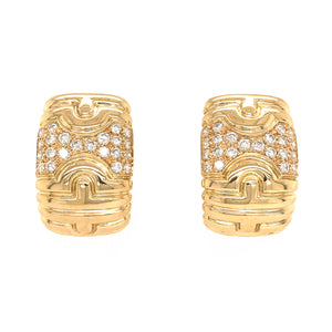 Bvlgari 18k Yellow Gold Parentesi Diamond Earrings