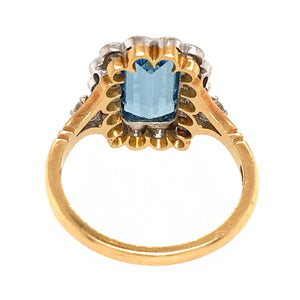 Antique Blue Topaz and Diamond Ring