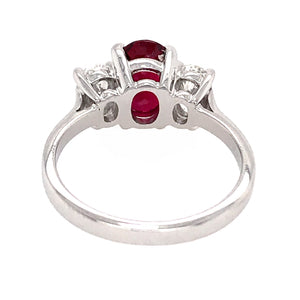 Estate Platinum Ruby and Diamond Engagement Ring