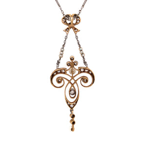 14k Turn of the Century Pearl and Diamond Pendant Necklace