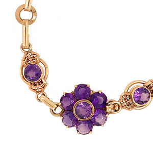 14k Yellow Gold Amethyst Retro Bracelet