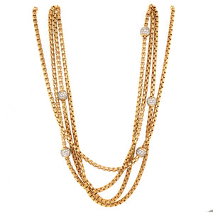 David Yurman 18k Yellow Gold 4 Row Diamond Ball Necklace