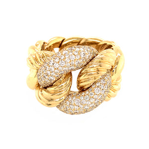 David Yurman 18k Yellow Gold Pave Diamond Link Ring