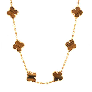 Van Cleef and Arpels 18k Yellow Gold 10 Motif Tiger's Eye Alhambra Necklace