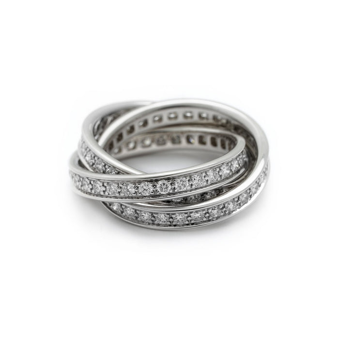 Cartier 18K White Gold Trinity Ring Size: 5.75