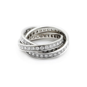 Cartier 18K White Gold Trinity Ring EU 52