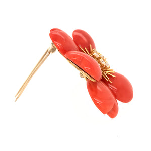 18k Yellow Gold Diamond and Coral Flower Brooch