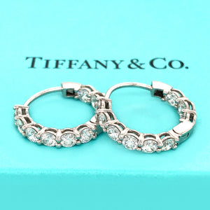 Tiffany and Co. Platinum Inside and Out Diamond Hoop Earrings