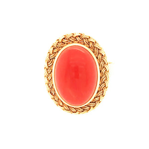 Vintage 18k Yellow Gold Coral Ring