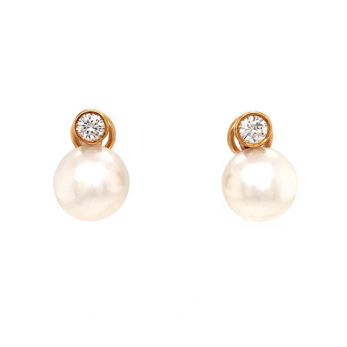 14k Yellow Gold South Sea Pearl and Diamond Earrings