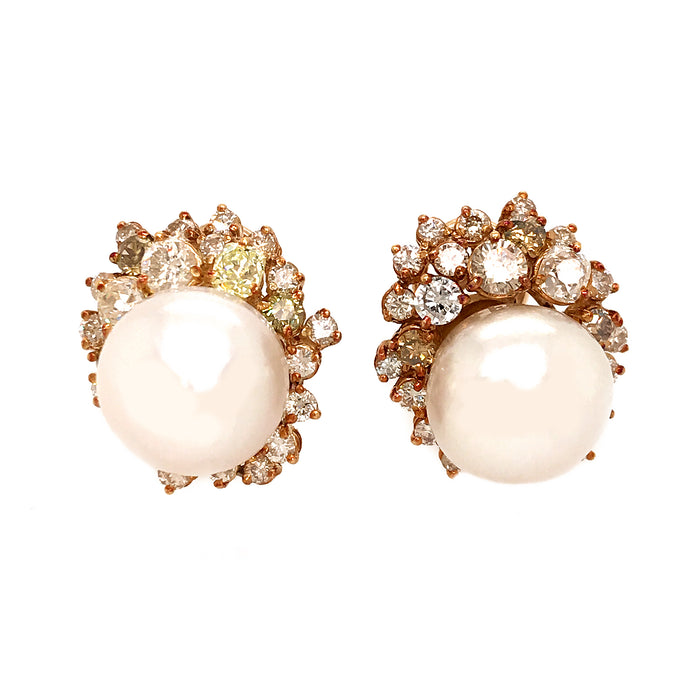 Estate 14k Yellow Gold South Sea Pearl and Fancy Yellow Diamond Earrings