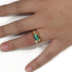 Scintillating Colors 18k Yellow Gold Opal and Diamond Ring
