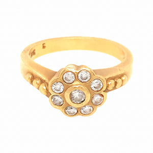 Delicate 18k Yellow Gold Bezel Set Diamond Flower Ring