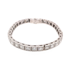 18k White Gold Diamond Block Bracelet