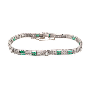 Gorgeous Platinum Art Deco Emerald and Diamond Bracelet