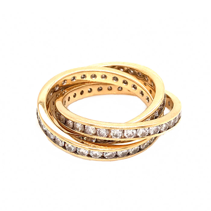 18k Yellow Gold Diamond Rolling Ring Approx: 2.25 Carats of Diamonds