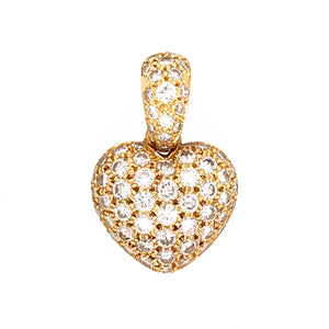 18k Yellow Gold Diamond Pave Heart Pendant