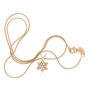 14k Yellow Gold Star of David Diamond Necklace