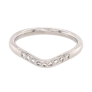 Tiffany and Co. Platinum V Shaped Band Diamond Ring
