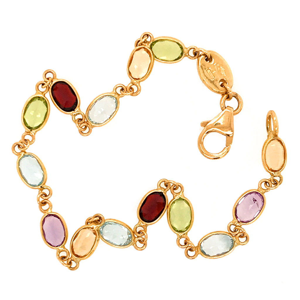 18k Yellow Gold Oval Semi Precious Candy Bracelet