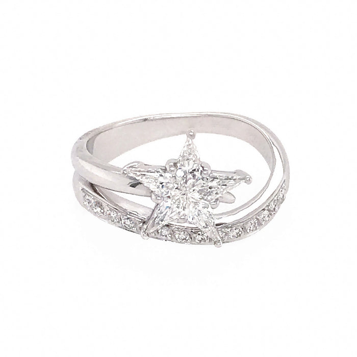 Pretty 18k White Gold Diamond Shooting Star Ring
