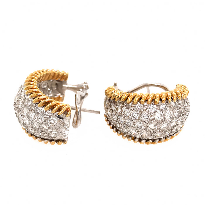 Estate 18k Yellow and White Gold Diamond Huggie Style Earrings