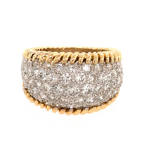 Beautiful 18k Yellow and White Gold Diamond Bombe Style Ring Media