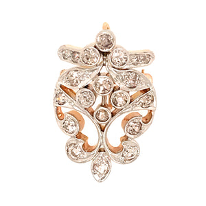 Antique Gold and Platinum Diamond Pin Pendant