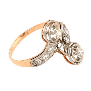 Antique 14k Yellow Gold Bypass Diamond Ring