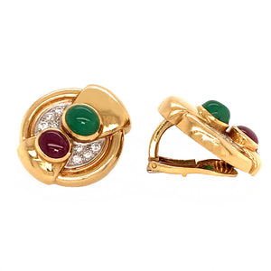 David Webb Vintage Diamond, Ruby and Emerald Clip-on Earrings